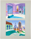 "Animation Art:Painted cel background, The Roman Holidays Production Backgrounds, Bob ""Yoshi"" Inman (Hanna-Barbera, 1972).... (Total: 2 )"