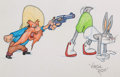 Animation Art:Production Drawing, Virgil Ross - Yosemite Sam and Bugs Bunny Drawing (Warner Brothers,c. 1990s). ...