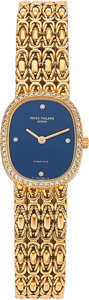 Estate Jewelry:Watches, Patek Philippe Lady's Diamond, Gold Watch, retailed by Tiffany& Co.. ...