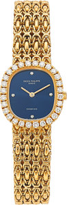 Estate Jewelry:Watches, Patek Philippe Lady's Diamond, Gold Watch, retailed by Tiffany & Co.. ...