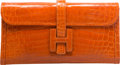 "Luxury Accessories:Bags, Hermes Shiny Orange H Nilo Crocodile Jige Elan Clutch Bag. O Square, 2011. Very Good Condition. 11"" Width x 5.5"" H..."