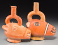 Pre-Columbian:Ceramics, Two Moche Stirrup-Spout Vessels. c. 200 BC - 600 AD... (Total: 2Items)