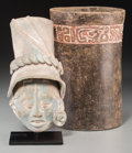 Ceramics & Porcelain:Pre-Columbian, Two Maya Items. c. 600 - 900 AD... (Total: 2 Items)
