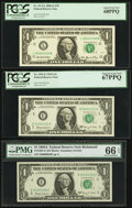 Small Size:Federal Reserve Notes, High Third Party Grades and Low Three and Four-Digit Serial Number $1 FRNs.. Serial 00002233 Fr. 1901-E 1963A PCGS Superb ... (Total: 3 notes)