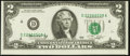 Error Notes:Shifted Third Printing, Shifted Low Third Printing Fr. 1935-D $2 1976 Federal Reserve Note. Choice Crisp Uncirculated.. ...