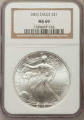 Modern Bullion Coins: , 2003 $1 Silver Eagle MS69 NGC. NGC Census: (116851/2464). PCGS Population: (12232/919). CDN: $18 Whsle. Bid for problem-fre...