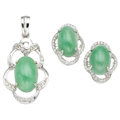 Estate Jewelry:Suites, Jade, Diamond, White Gold Jewelry . ... (Total: 2 Items)