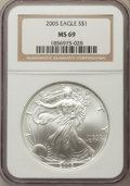 Modern Bullion Coins, 2005 $1 Silver Eagle MS69 NGC. NGC Census: (124062/4270). PCGS Population: (11247/939). CDN: $18.75.Whsle. Bid for problem-...