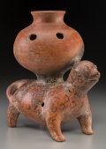 Pre-Columbian:Ceramics, A Colima Dog Carrying Large Olla. c. 200 BC - 200 AD...