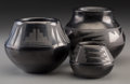 American Indian Art:Pottery, Three San Ildefonso Blackware Jars. Maria and Julian Martinez,Maria and Santana Martinez, and Blue Corn (Crucita Gonzales...(Total: 3 Items)