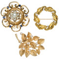 Estate Jewelry:Brooches - Pins, Diamond, Cultured Pearl, Synthetic Sapphire, Gold Brooches. ...(Total: 3 Items)