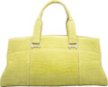 """Luxury Accessories:Bags, VBH Shiny Green Crocodile East West Via Bag, 97/300. ExcellentCondition. 18"""" Width x 9"""" Height x 5.5"""" Depth. ..."""