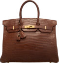 Luxury Accessories:Bags, Hermes 35cm Matte Miel Porosus Crocodile Birkin Bag with GoldHardware. A Square, 1997. Very Good to ExcellentConditi...