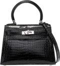 Luxury Accessories:Bags, Hermes 20cm Shiny Black Porosus Crocodile Sellier Kelly Bag with Palladium Hardware. I Square, 2005. Excellent Conditi...
