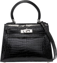 Hermes 20cm Shiny Black Porosus Crocodile Sellier Kelly Bag with Palladium Hardware I Square, 2005 <
