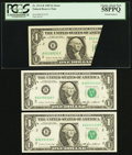 Error Notes:Foldovers, Fr. 1913-B $1 1985 Federal Reserve Notes Three ConsecutiveExamples.. Printed Foldover Error PCGS Choice About New 58PPQ...(Total: 3 notes)