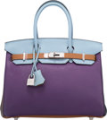 Luxury Accessories:Bags, Hermes Limited Edition 30cm Ultraviolet, Etoupe, Blue Obscure,Etain, Gold & Blue Lin Clemence Leather Harlequin Birkin Bagwi...