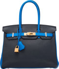 Luxury Accessories:Bags, Hermes Special Order Horseshoe 30cm Blue Obscure & Blue HydraTogo Leather Birkin Bag with Gold Hardware. Q Square,2013...