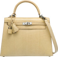 Hermes 25cm Ficelle Nilo Lizard Sellier Kelly Bag with Palladium Hardware I Square, 2005 Excellen