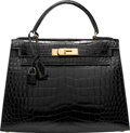 "Luxury Accessories:Bags, Hermes 28cm Shiny Black Caiman Crocodile Sellier Kelly Bag withGold Hardware. O Circle, 1985. Excellent Condition. 11""Wi..."