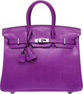 "Luxury Accessories:Bags, Hermes 25cm Violet Nilo Lizard Birkin Bag with Ruthenium Hardware. J Square, 2006. Excellent Condition. 10"" Width ..."