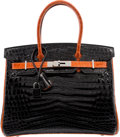 Luxury Accessories:Bags, Hermes Limited Edition 30cm Shiny Black & Orange H NiloCrocodile Birkin Bag with Ruthenium Hardware. H Square,2004. ...