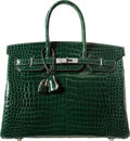 Luxury Accessories:Bags, Hermes 35cm Shiny Vert Fonce Porosus Crocodile Birkin Bag withPalladium Hardware. J Square, 2006. Very Good toExcell...