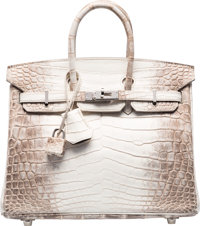 Hermes 25cm Matte White Himalayan Nilo Crocodile Birkin Bag with Palladium Hardware Q Square, 2013 <
