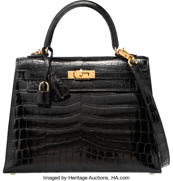 28afd27ab84 Hermes 25cm Shiny Black Nilo Crocodile Sellier Kelly Bag with