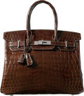 Luxury Accessories:Bags, Hermes 30cm Shiny Ebene Nilo Crocodile Birkin Bag with PalladiumHardware. L Square, 2008. Very Good to ExcellentCond...