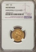 Three Dollar Gold Pieces, 1857 $3 -- Improperly Cleaned -- AU50 NGC Details. NGC Census: (44/524). PCGS Population: (51/256). CDN: $1,000 Whsle. Bid ...