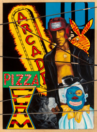 "Chris ""DAZE"" Ellis (b. 1962) Clown, Prize Fighter/ Coney Island, 1996 Paint on plywood 41 x 30 in"