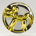 Sculpture, Jeff Koons (b. 1954). Balloon Dog (Yellow), 2015. Porcelain sculpture painted in chrome. 10-1/2 inches (26.7 cm) (diamet...