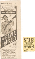 Music Memorabilia:Tickets, Elvis Ticket Stub and Ad from The Chicago InternationalAmphitheater (1957)....