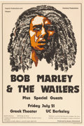 Music Memorabilia:Posters, Bob Marley & the Wailers Greek Theater/UC Berkeley Concert Poster Superb/Overland Productions (1978)....