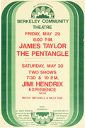 Music Memorabilia:Posters, Jimi Hendrix/ James Taylor/ Pentangle Berkeley Concert Poster(1970)....