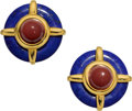 Estate Jewelry:Earrings, Lapis Lazuli, Carnelian, Gold Earrings, Aldo Cipullo. ...