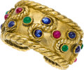 Estate Jewelry:Bracelets, Multi-Stone, Gold Bracelet, David Webb. ...