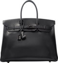 Luxury Accessories:Bags, Hermes Limited Edition 35cm So Black Calf Box Leather Birkin Bagwith PVD Hardware. O Square, 2011. ExcellentConditio...