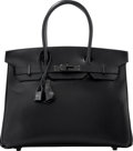Luxury Accessories:Bags, Hermes Limited Edition 30cm So Black Calf Box Leather Birkin Bag with PVD Hardware. O Square, 2011. Excellent to Prist...