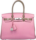 Luxury Accessories:Bags, Hermes Special Order Horseshoe 30cm 5P Bubblegum Pink & Vert deGris Togo Leather Birkin Bag with Palladium Hardware. OSq...
