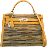 Hermes 32cm Curry Box Nepal & Vibrato Leather Sellier Kelly Bag with Palladium Hardware D Square, 2000 Very