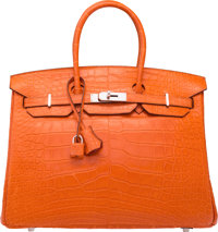 Hermes 35cm Matte Feu Alligator Birkin Bag with Palladium Hardware R Square, 2014 Excellent to Pr