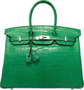 "Luxury Accessories:Bags, Hermes 35cm Matte Cactus Alligator Birkin Bag with PalladiumHardware. P Square, 2012. Excellent Condition. 14"" Width x10..."