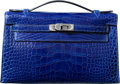 Luxury Accessories:Bags, Hermes Shiny Blue Electric Alligator Kelly Pochette Bag withPalladium Hardware. Q Square, 2013. ExcellentCondition...