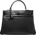 Luxury Accessories:Bags, Hermes Limited Edition 35cm So Black Calf Box Leather Retourne Kelly Bag with PVD Hardware. N Square, 2010. Excellent ...