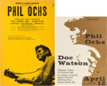 Music Memorabilia:Posters, Two Phil Ochs/Doc Watson Berkeley Concert Posters (late 1960s). ...