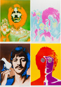 Music Memorabilia:Posters, Beatles - Full Set of Richard Avedon Psychedelic Posters With Black & White Streamer Poster (1968)....