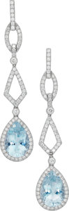 Estate Jewelry:Earrings, Aquamarine, Diamond, White Gold Earrings, Eli Frei. ...