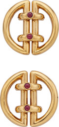 Estate Jewelry:Brooches - Pins, Ruby, Gold Brooches, Sonia Younis for Tiffany & Co.. ...(Total: 2 Items)